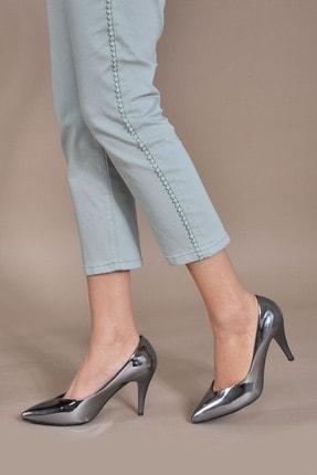 Vizon Ayakkabı Kadın  Platin-Rugan Klasik Topuklu Ayakkabı Vzn20-003y