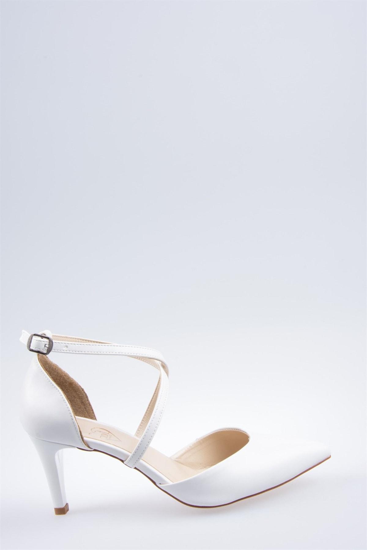 Fox Shoes Beyaz Kadın Topuklu Ayakkabı D654054809 2