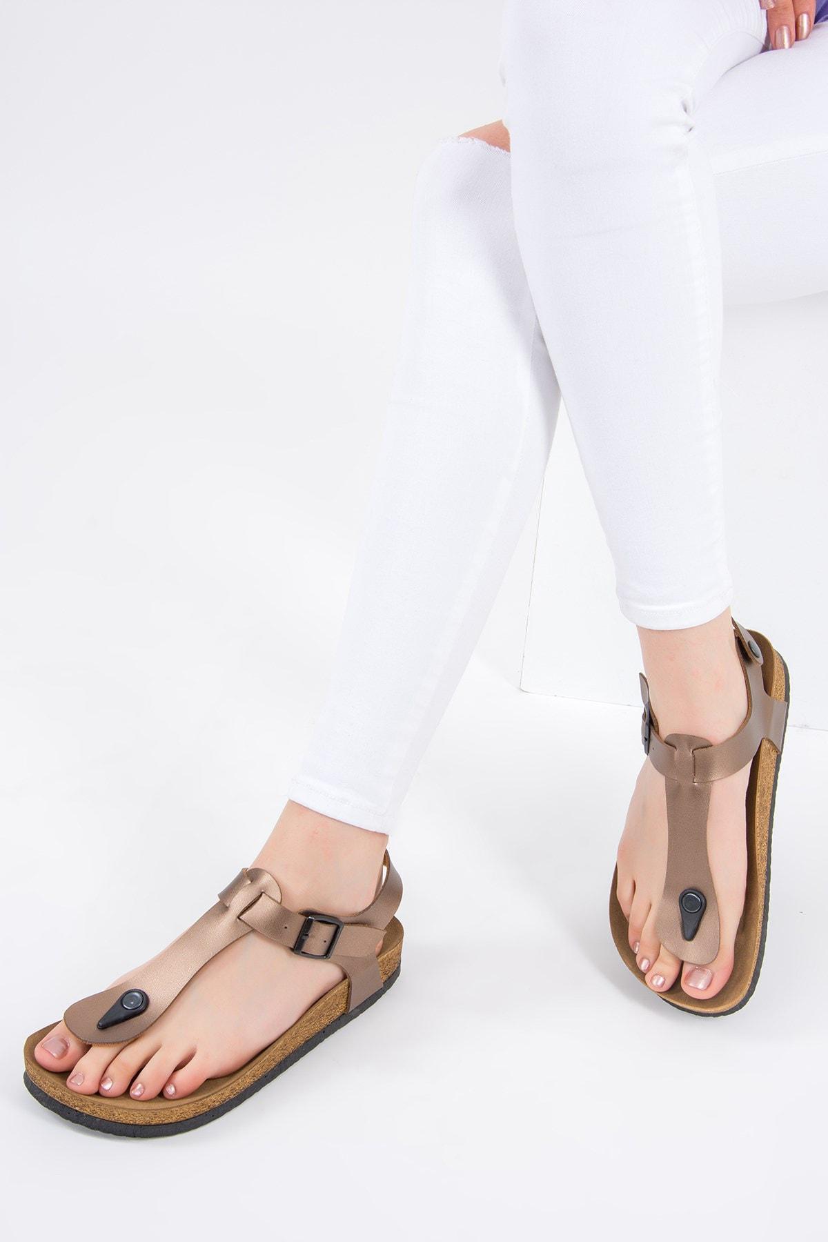 Fox Shoes Bronz Kadın Sandalet B777805009 1