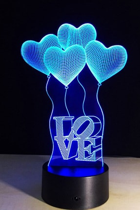 Bun Design Love Uçan Balonlar Gece Lambası
