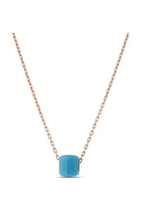 MySilvers Mavi Boncuklu Klasik Gümüş Kolye Kadın Rose