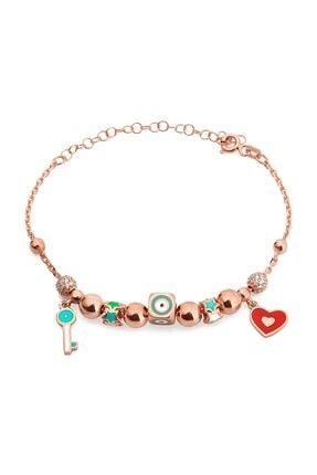 MySilvers Mineli Kalp Anahtar Bileklik Kadın Rose