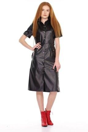 Carlamia Kadın Ön Çıtçıtlı Kısa Kol Deri Elbise