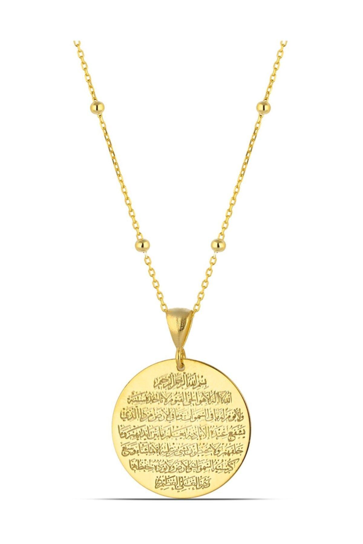 MySilvers Ayetel Kürsi Yazılı Gümüş Madalyon Kolye Kadın Altın 1
