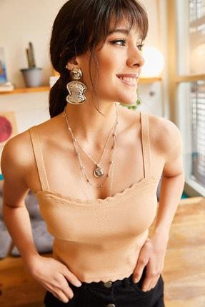 Olalook Kadın Bal Köpüğü Fırfırlı Yazlık Bel Üstü Triko Bluz BLZ-19000882