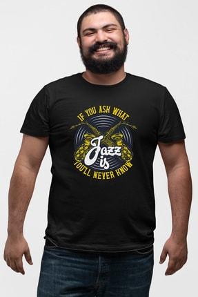 Angemiel Wear Jazz Ve Saksafon Siyah Erkek Pamuklu Büyük Beden Tişört