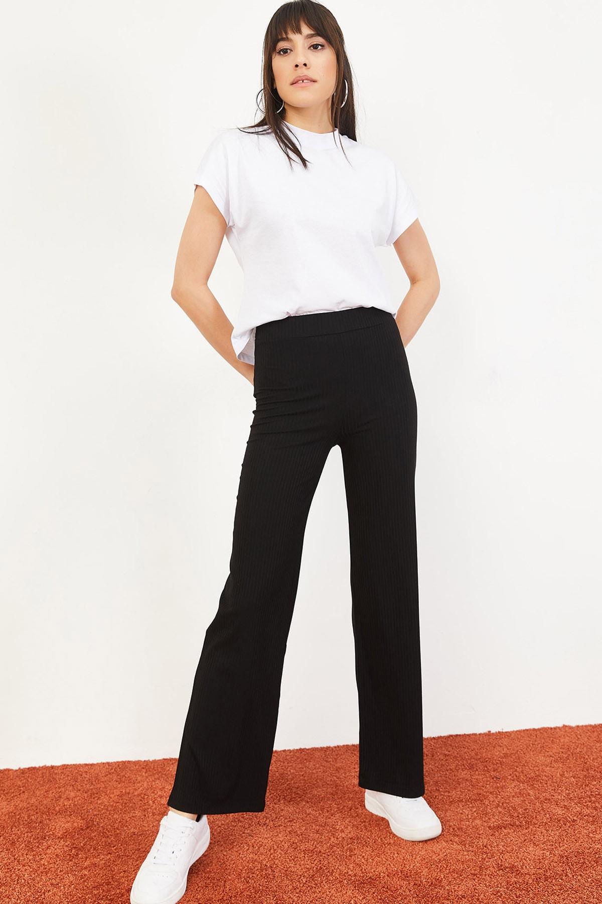Bianco Lucci Kadın Siyah İspanyol Paça Beli Lastikli Rahat Pantolon 10051020