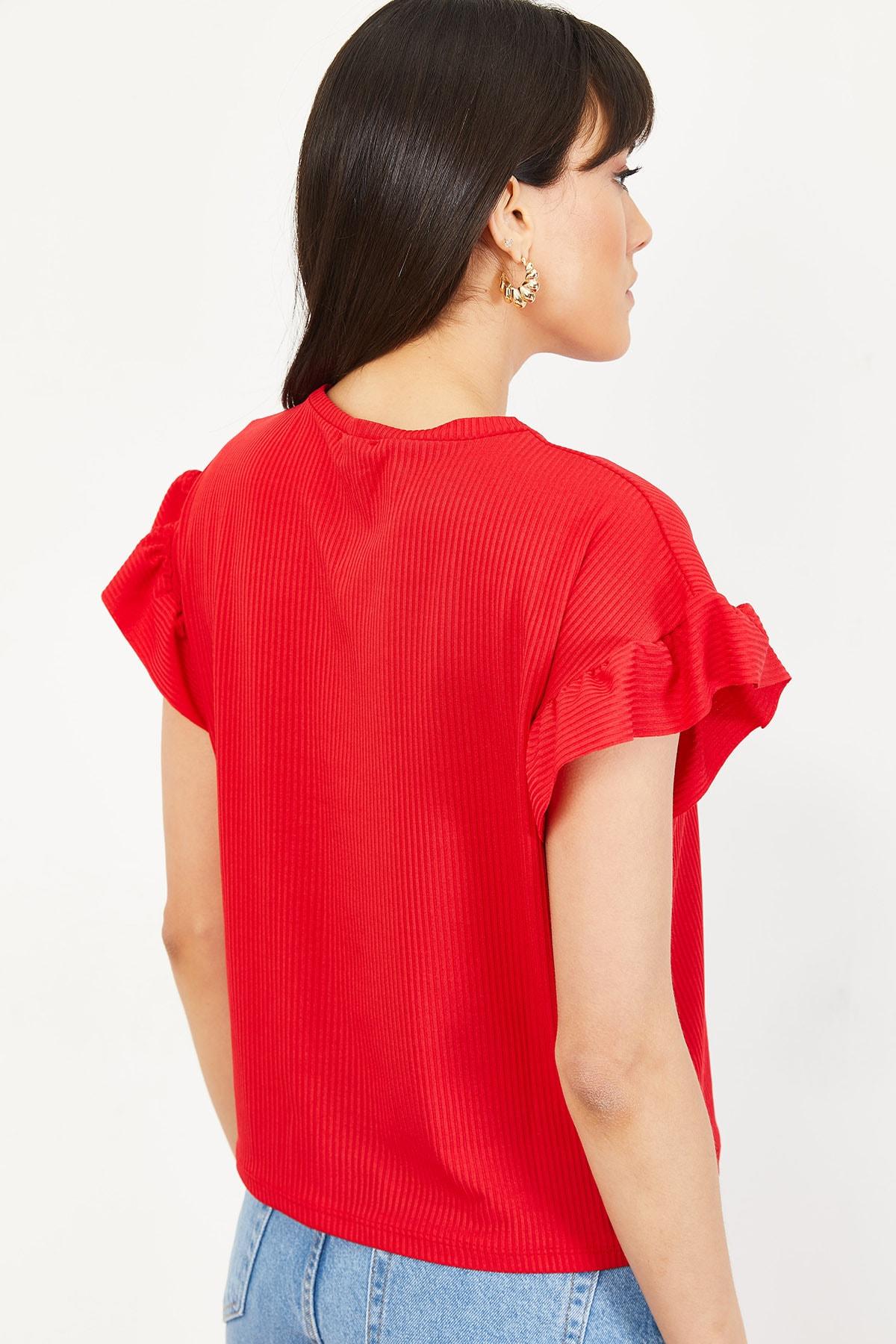 Bianco Lucci Kadın Kırmızı Kolu Fırfırlı Kaşkorse Bluz 10051015 2