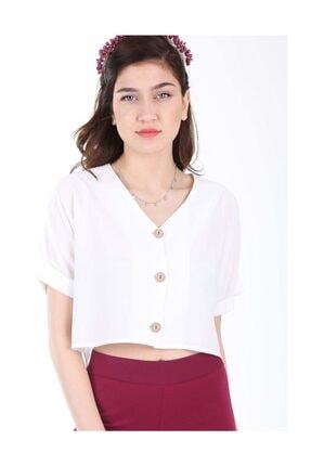 Bigdart Kadın Beyaz Üç Düğmeli Salaş Bluz 3675bgd19_005