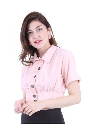 Bigdart Kadın Pudra Gömlek Yaka Düğmeli Bluz 3680bgd19_012