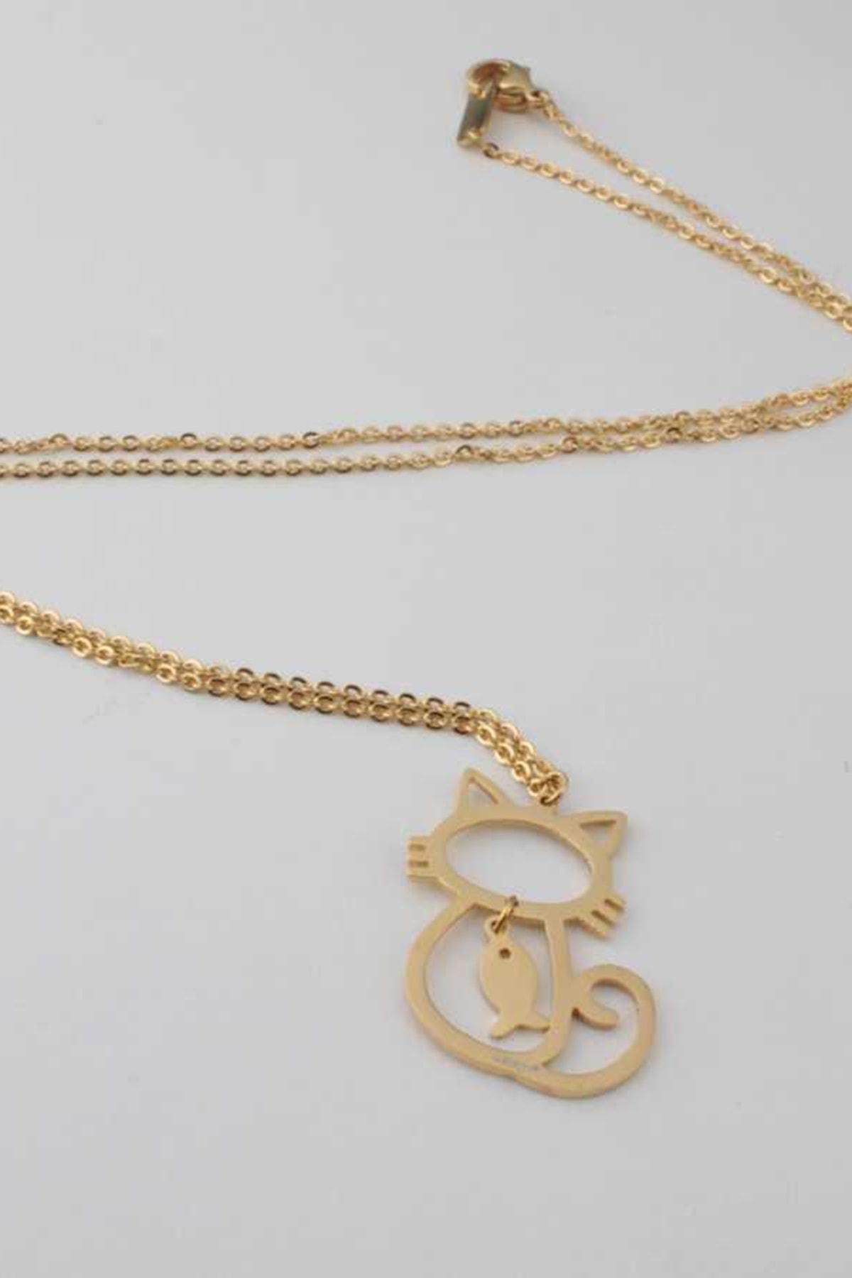 Welch Kadın Kedili Gold Çelik Kolye 80357 1