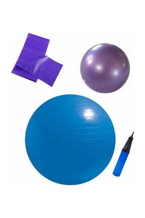 Povit 3'lü Pilates Set - 65 Cm Mavi Top + 25 Cm Mor Top + Mor Bant