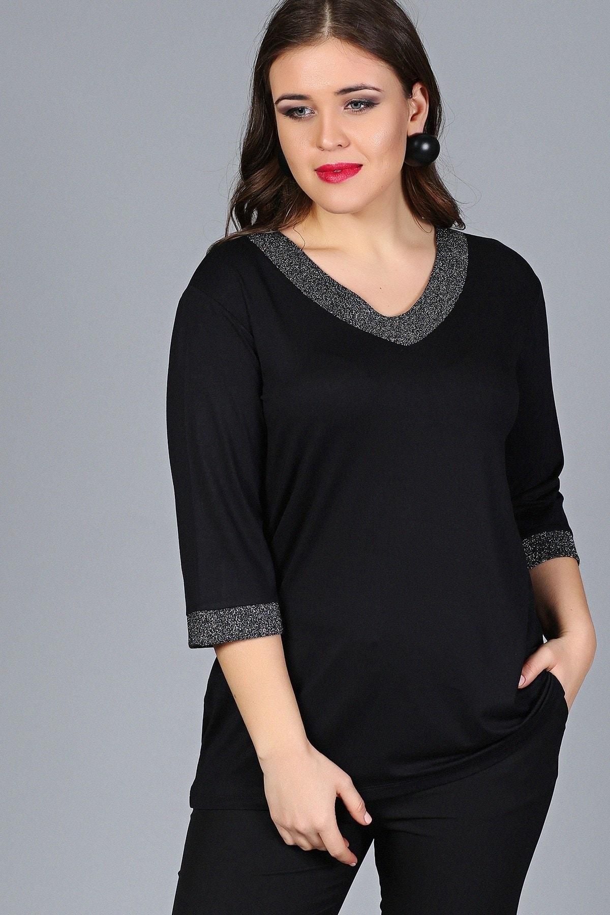 Gül Moda Kadın Büyük Beden Bluz Simli Kapri Kol Siyah G012 1