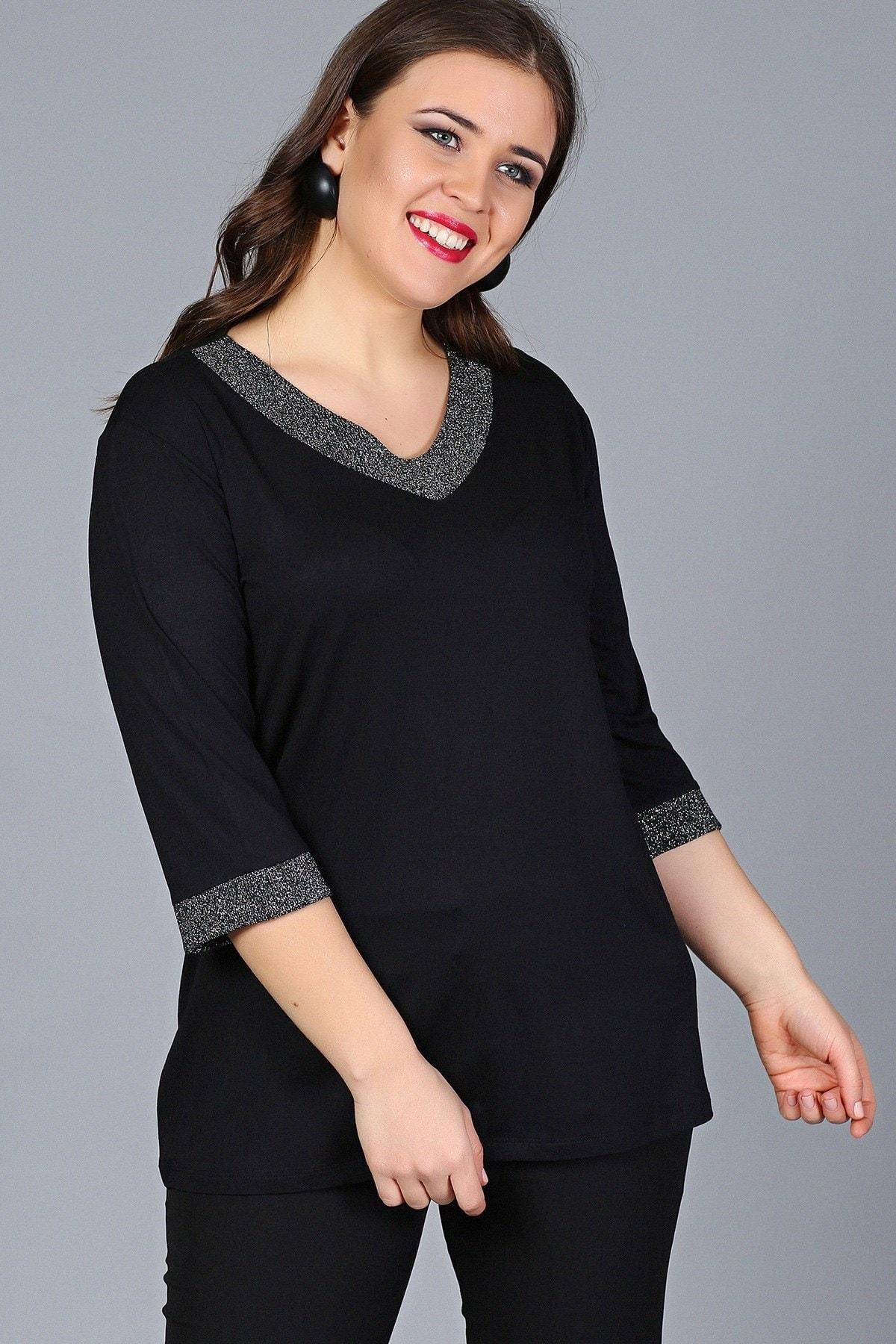 Gül Moda Kadın Büyük Beden Bluz Simli Kapri Kol Siyah G012 2