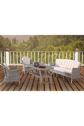 Vieno Home Garden Rona Örgü Rattan Bahçe Balkon Üçlü Koltuk Masa 4 Parça Keyif Seti