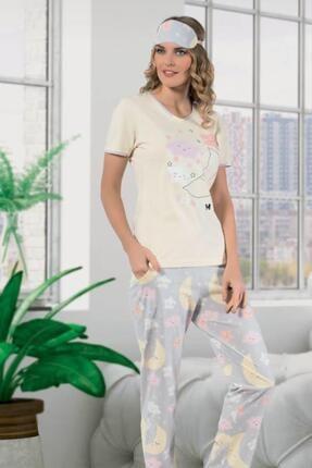 Cicimod 1'li Paket Manolya 2355 Kısa Kol Likralı Pamuk Kadın Pijama Takımı
