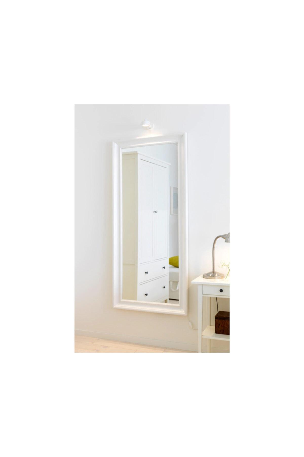 EVCAZIM Dekoratif Salon ofis Boy Aynası Düz Çerçeve Beyaz 50cm X 110cm 1