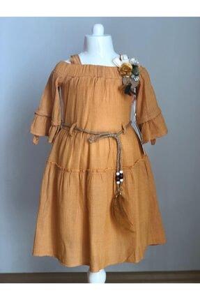Buse&Eylül Bebe Hardal Pamuklu Kumaş Broş Detaylı Kemerli Kız Çocuk Elbisesi