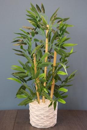 Yapay Çiçek Deposu Beton Saksıda Bambu Ağacı Koyu Yeşil 65 cm