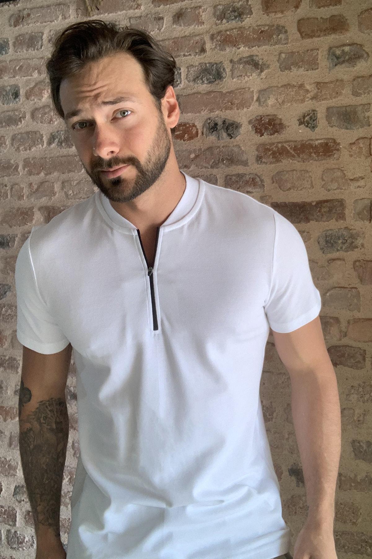 TRENDYOL MAN Beyaz Erkek Fermuarlı T-Shirt TMNSS20TS0966 2