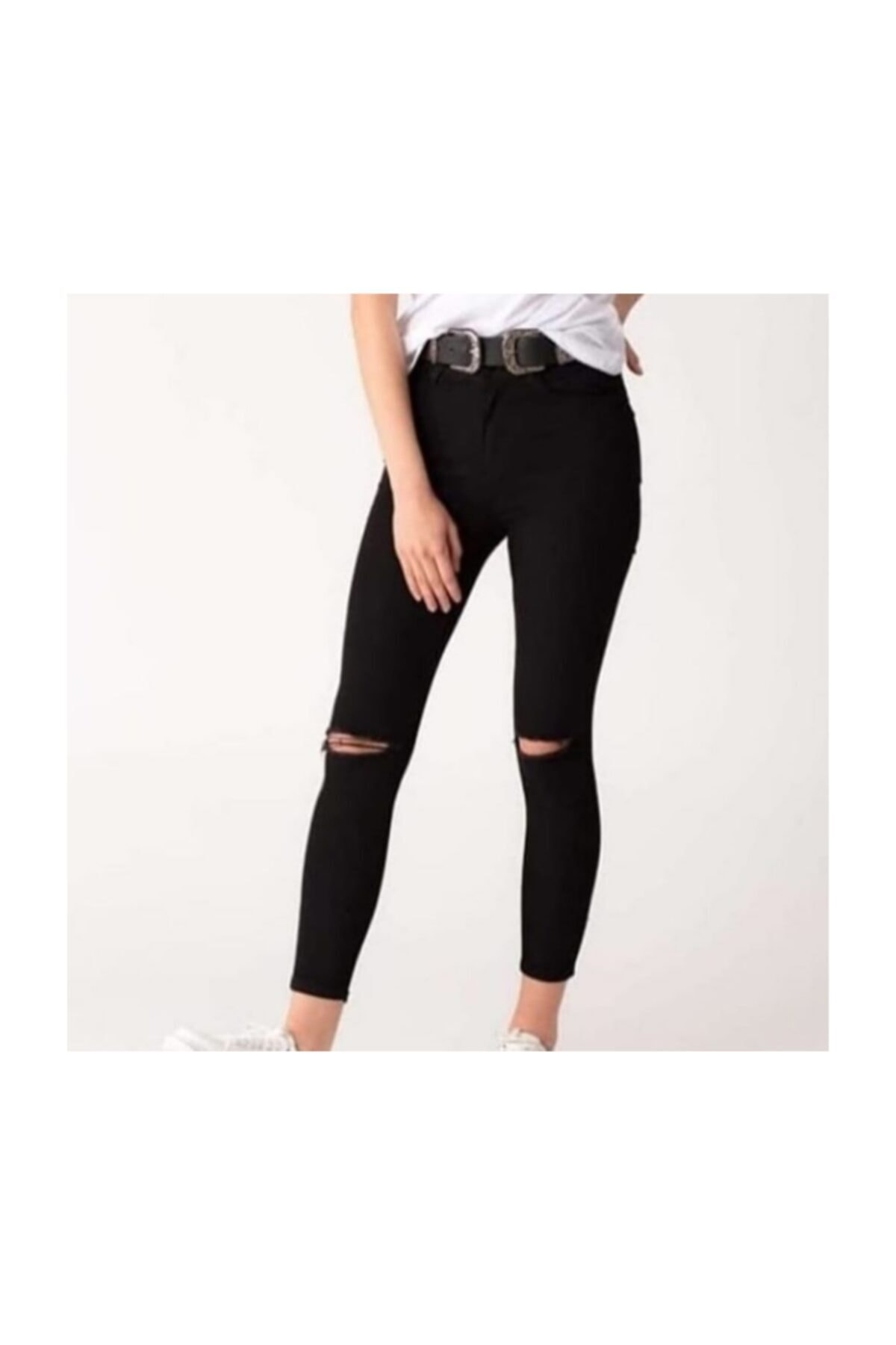 eGs Bayan Siyah Dizi Yırtık Pantolon 1