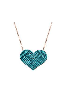 Tesbihane Kadın 925 Ayar Gümüş Turkuaz Taşlı Kalp Model Kolye