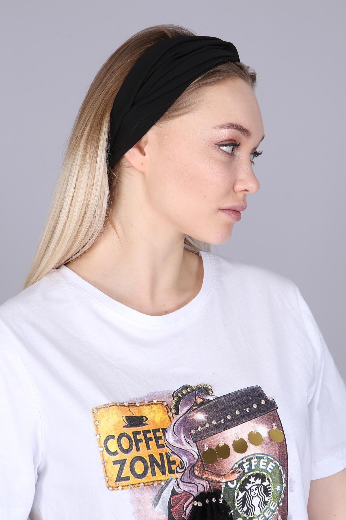 Mi&So Kadın Siyah Düz Renk Saç Bandı Scbnd-1001