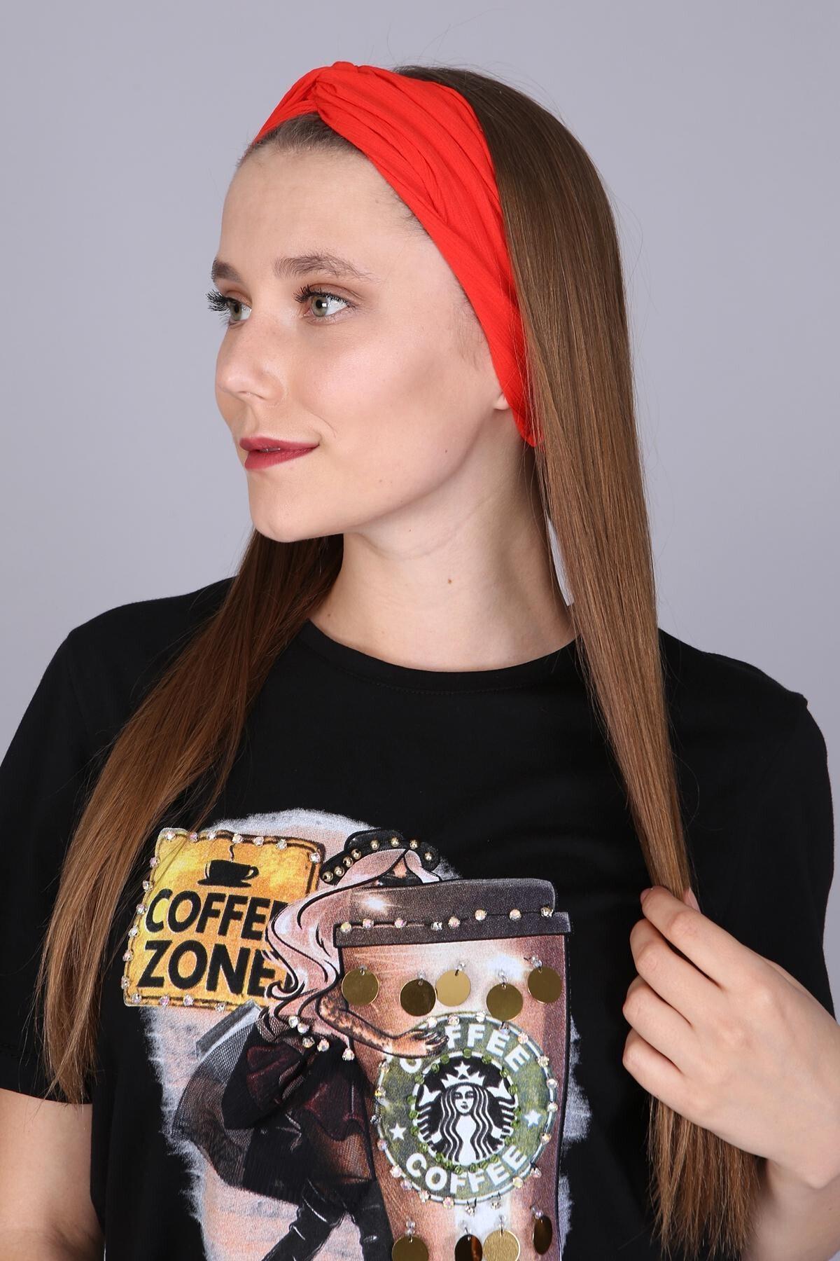 Mi&So Kadın Kirmizi Düz Renk Saç Bandı Scbnd-1001