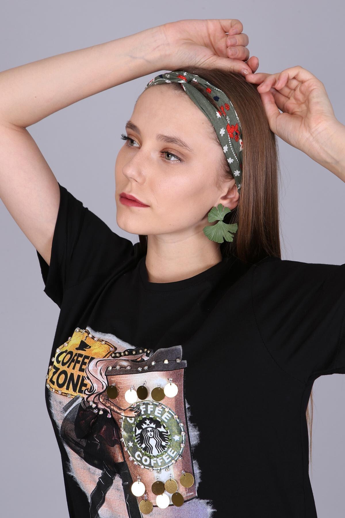 Mi&So Kadın Yeşil Desenli Saç Bandı Scbnd1002