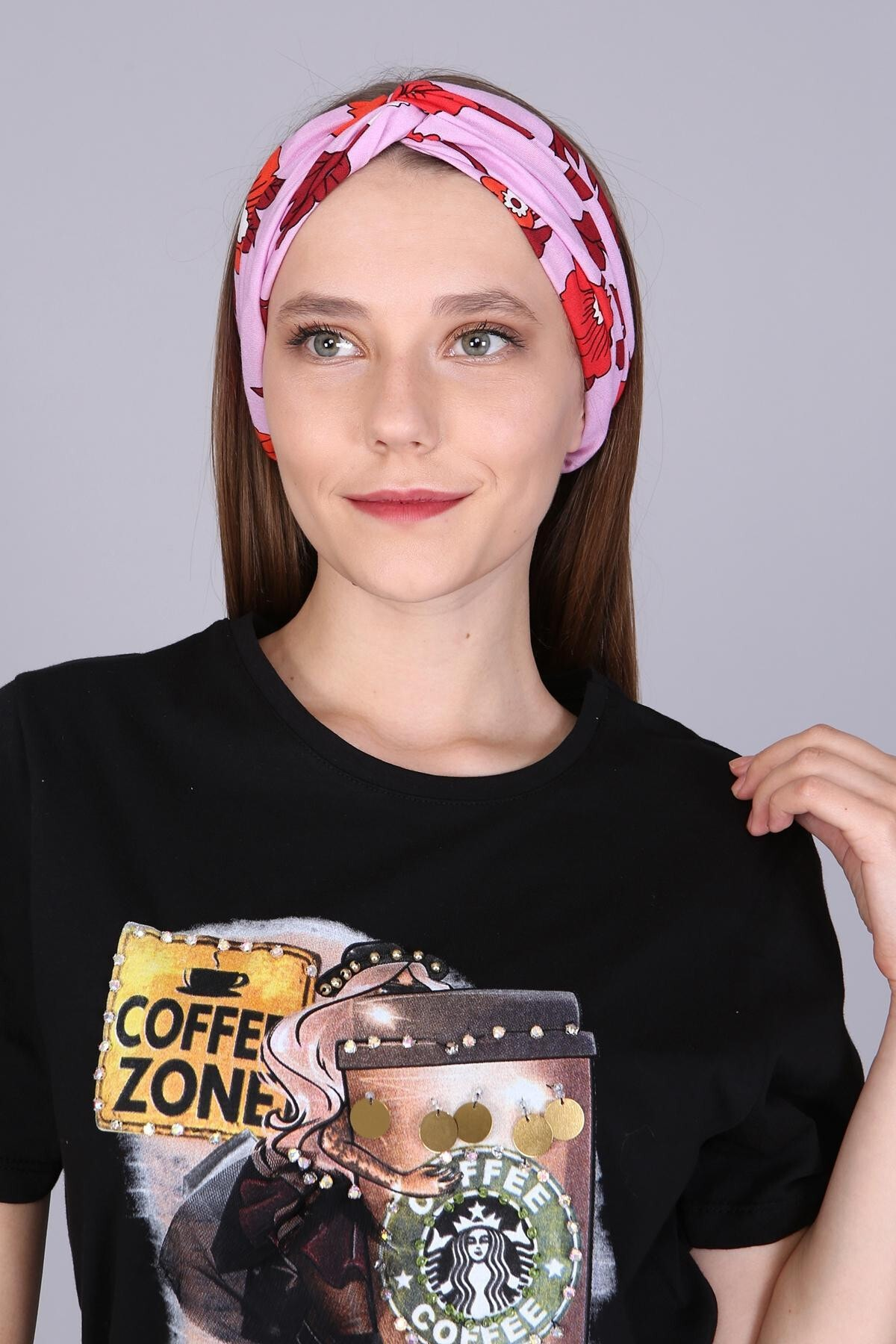 Mi&So Kadın Pembe Desenli Saç Bandı Scbnd1002