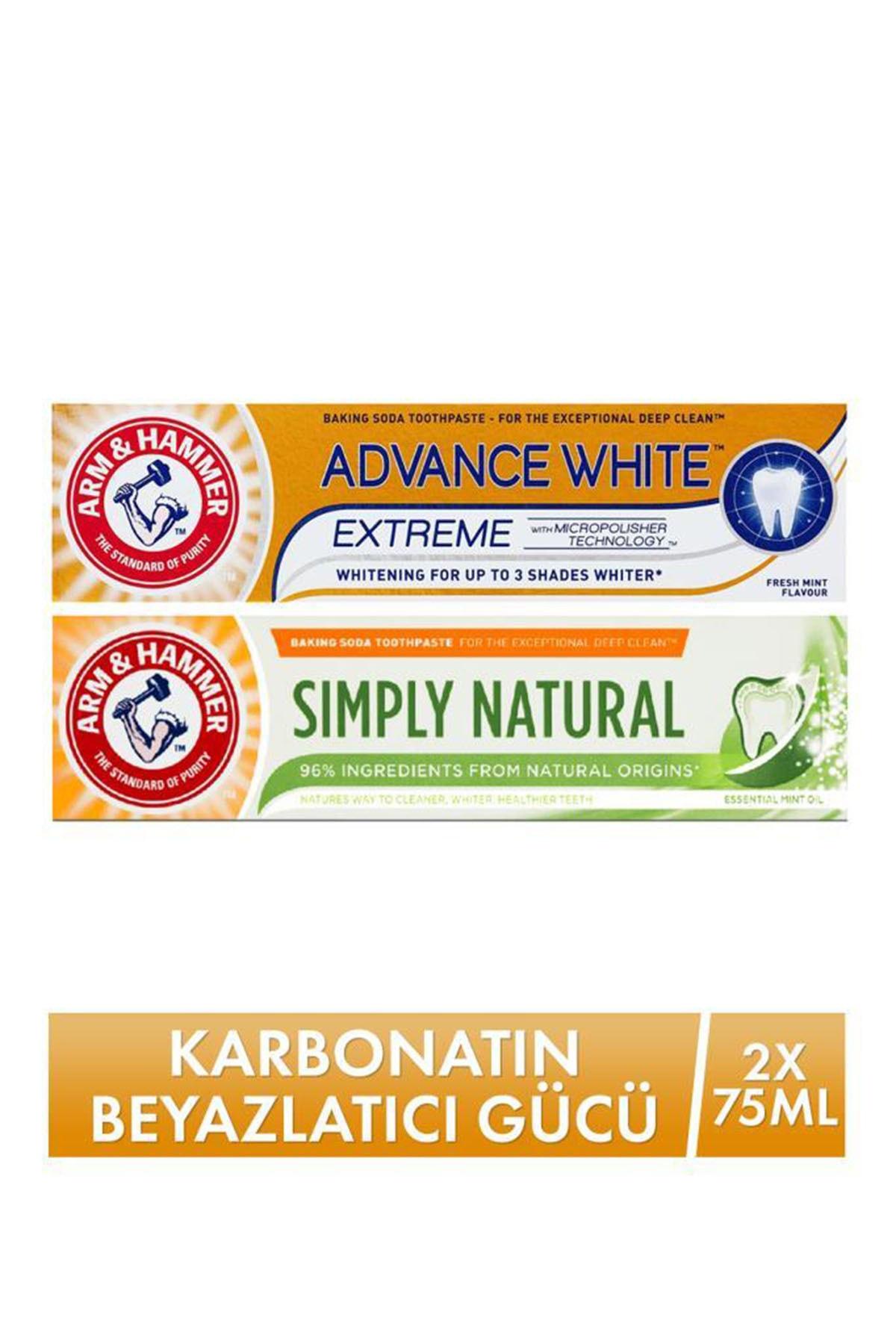 Arm&Hammer 3 Tona Kadar Beyazlatıcı Diş Macunu - Advance White 75ml & Natural Toothpaste 75ml 50107245250432