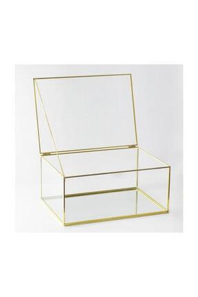 El Crea Designs Gold Pirinç Brass Takı Aksesuar Çikolata Kutusu Damat Bohçası 35cm 25cm 15cm