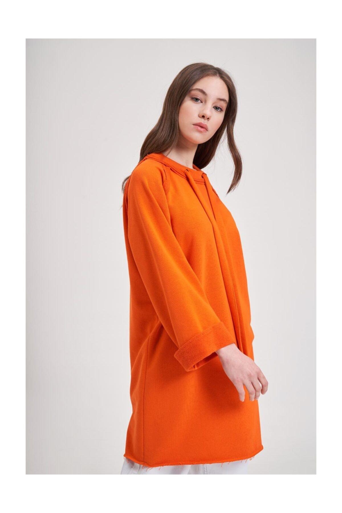 Mizalle Youth Mızalle Youth Yaka Bağcıklı Sweatshirt (turuncu) 1