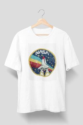 TZBK Company Nasa Space Beyaz Tişört Unisex Kalıp