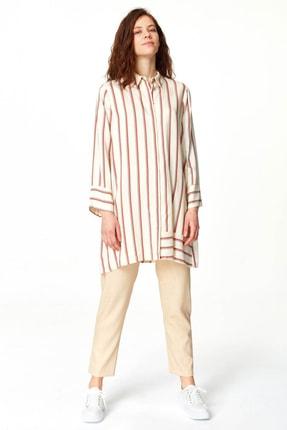 Mizalle Kadın Ekru Çizgili Saten Tunik Elbise 19YGMZL1025001