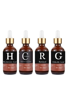 Pure Retinol & Vitamin C & Hyaluronic Acid & Glikolik Asit - 4'lü Set