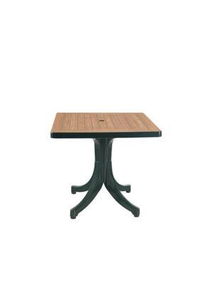 Papatya Diva Masa Plastik Bahçe Masası Yeşil Ahşap Desenli Kare 80X80 cm