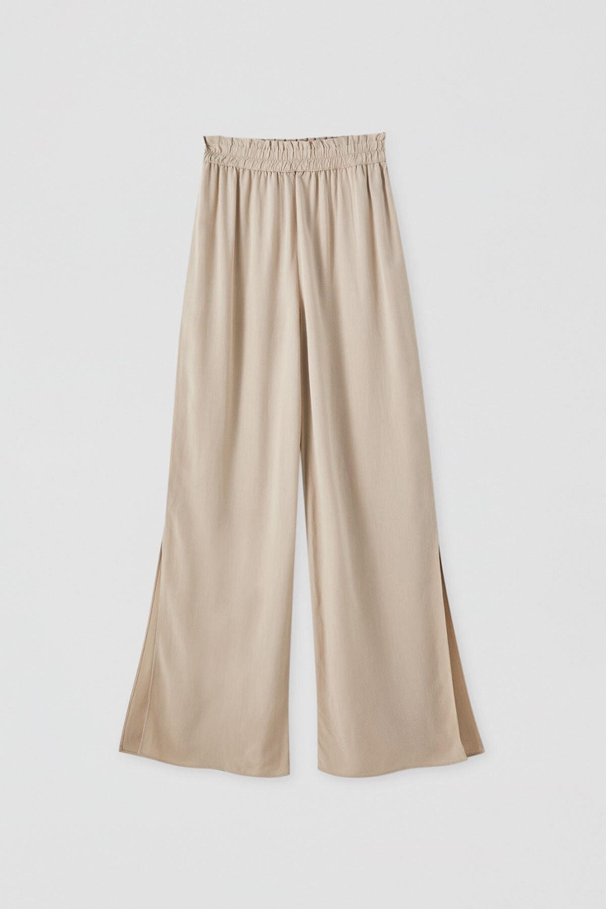 Pull & Bear Kadın Kum Rengi Elastik Belli Keten Pantolon 05671307 1