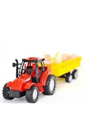 CAN OYUNCAK Kayyum Çiftlik Dünyası Tavuk Ve Yumurta Taşıyan Römorklu Traktör