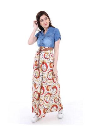 Bigdart Kadın Turuncu Desenli Kot Elbise 1381bgd_021