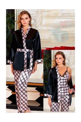 Jeremi 3060 Ipek Saten Desenli Kimono Önden Düğmeli Lohusa Pijama Takımı
