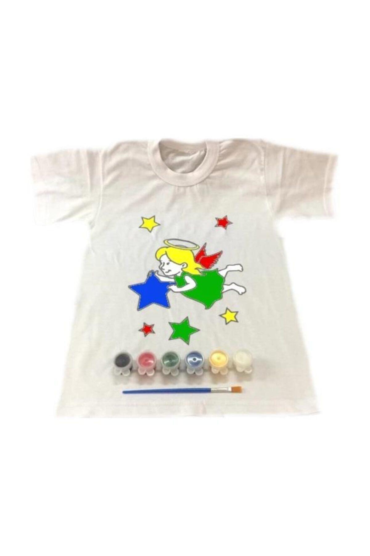 Joy and Toys 4-5 Yaş Tişört Boyama Seti+kumaş Boyama+melek Kız Desenli 2