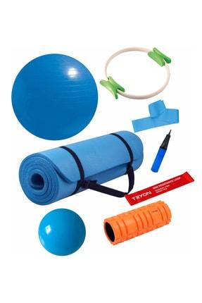 Povit 7'li  Pilates Seti 1 Cm Mavi Mat, 30 Cm Top, 65 CM Top, Bant , Çember , LoopBand , Roller