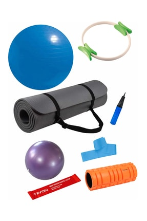 Povit 7'li  Pilates Seti 1 Cm Gri Mat, 25 Cm Top, 65 CM Top, Bant , Çember , LoopBand , Roller