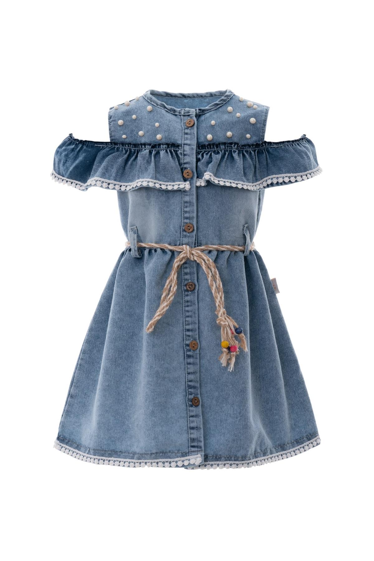 AcarKids Kız Çocuk Elbise İncili Kot Hasır Kemerli 6-9 Yaş Mavi 1