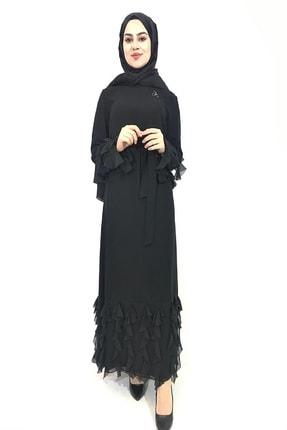Orhan Kol Ve Alt Detaylı Siyah Elbise 140 Cm