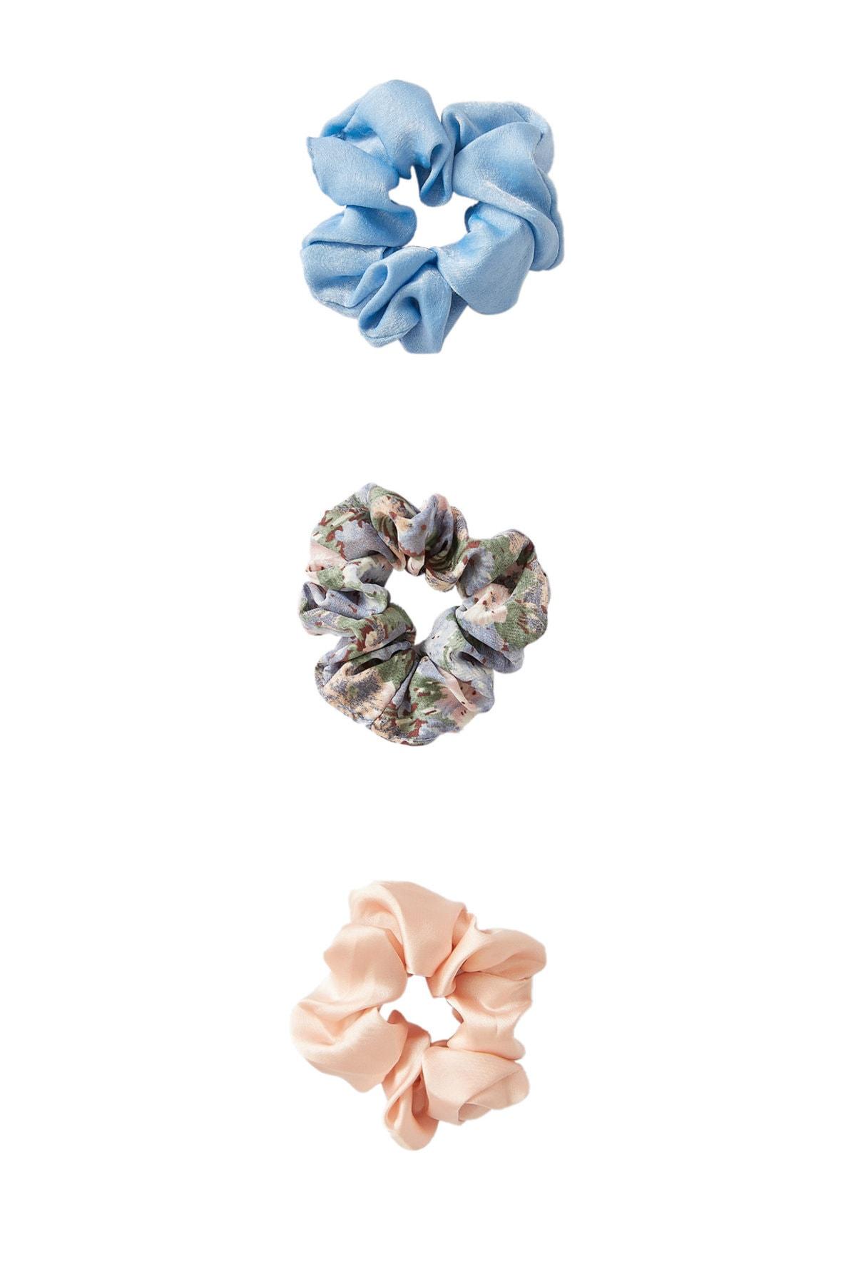 Stradivarius Kadın Açık Mavi 3'Lü Çiçek Desenli Ve Pötikareli Saç Lastiği Paketi 00237009 1
