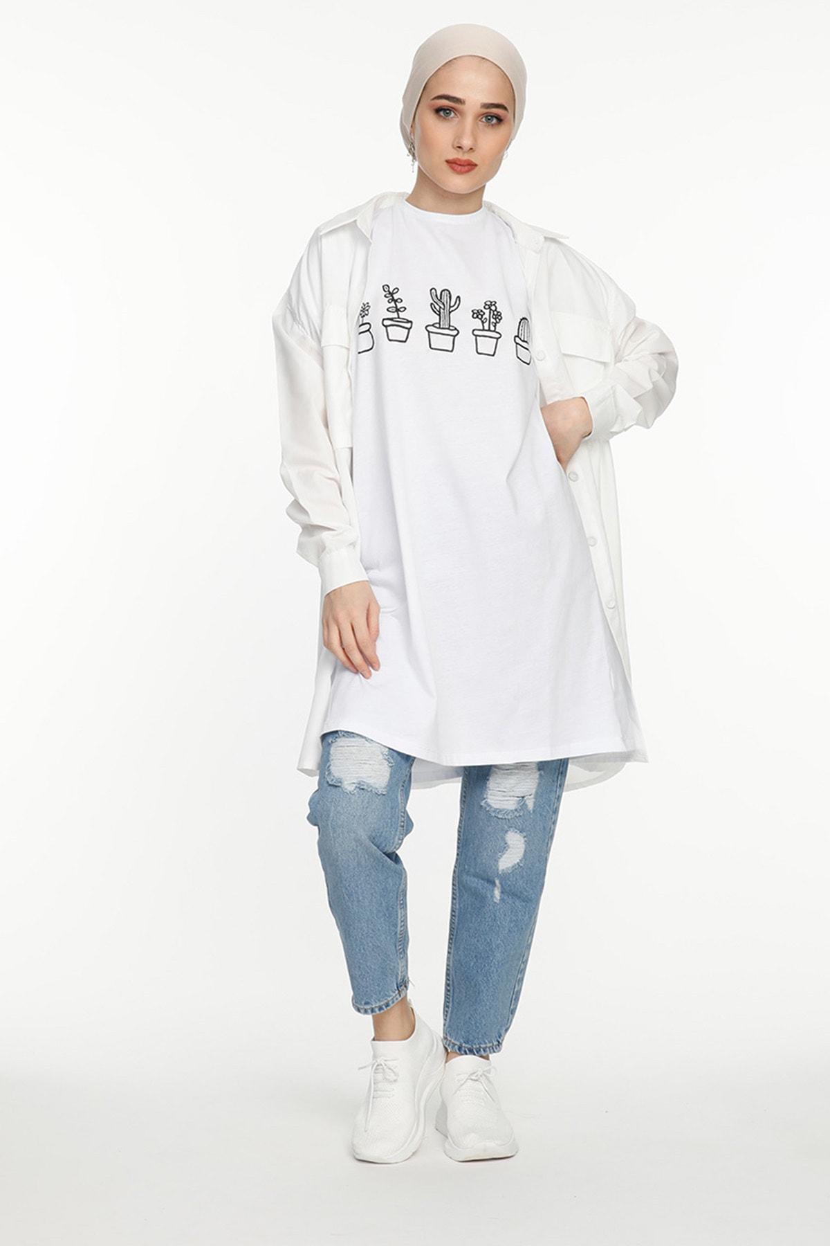 SİNDAL Kadın Kaktüs Detaylı T-shirt 1