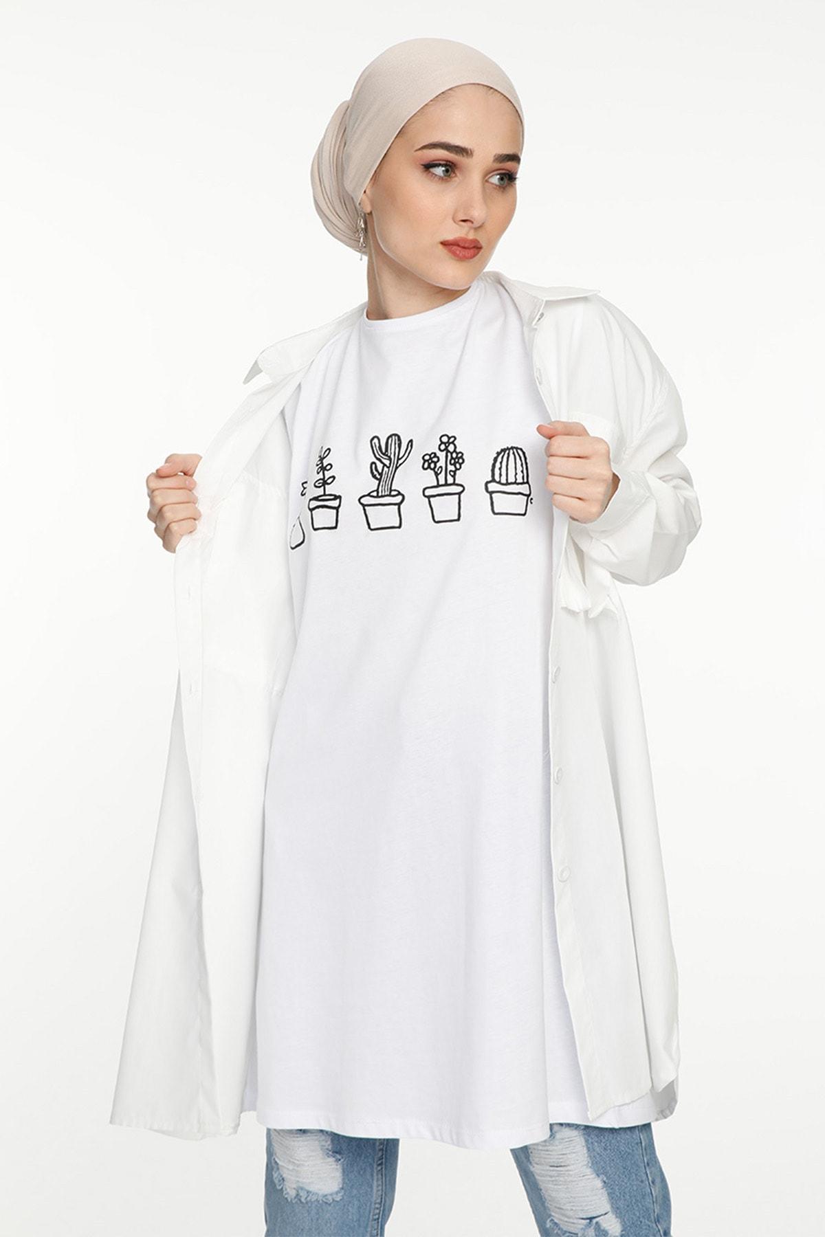 SİNDAL Kadın Kaktüs Detaylı T-shirt 2