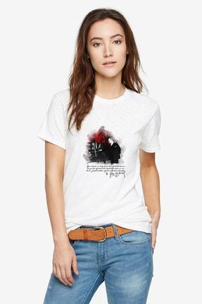 Collage Öğretmenler Günü Ataturk Baskılı Beyaz Kadın Tshirt T-shirt Tişört T Shirt